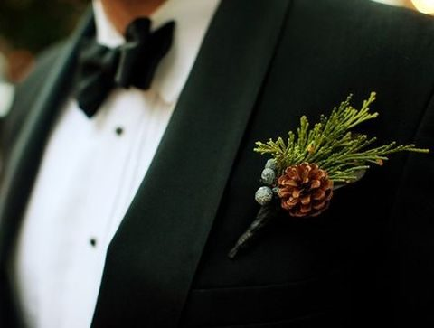 evergreen pinecone boutonniere