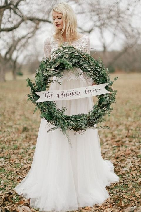 evergreen wedding wreath