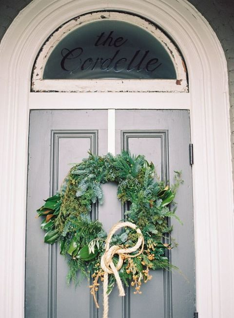 evergreen winter wedding wreath