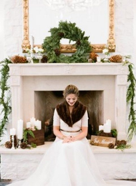 evergreen wreath and garland for venue decor