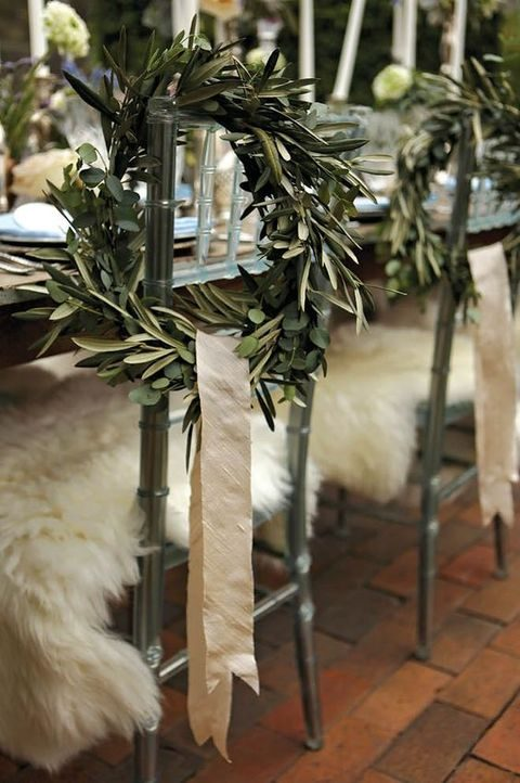 evergreen wreath with ribbon