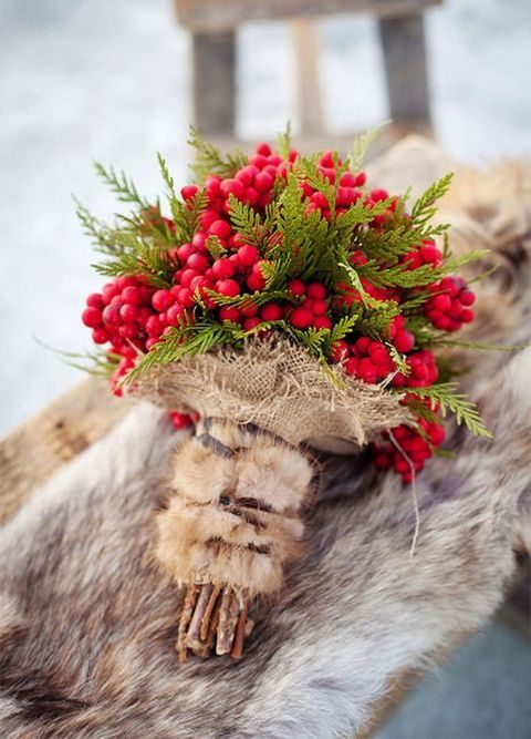 evergreens and berries rustic bouquet