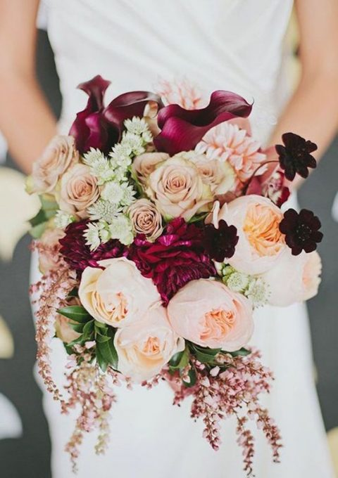 fall wedding bouquet with purple and blush flowers