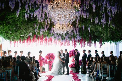 fantastic indoor ceremony spot with hanging gardens and chandeliers