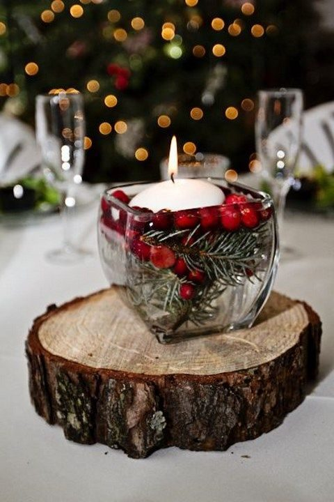 fir branches, berries and floating candles