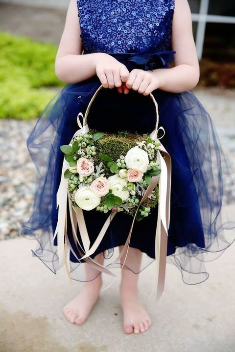 dcd768573 flower girl moss basket with floral, botanical, and ribbon accents