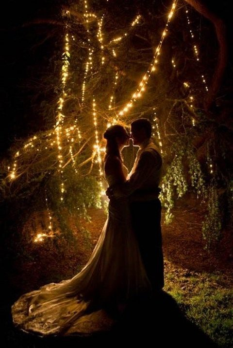 forest wedding photo with silhouettes in the lights