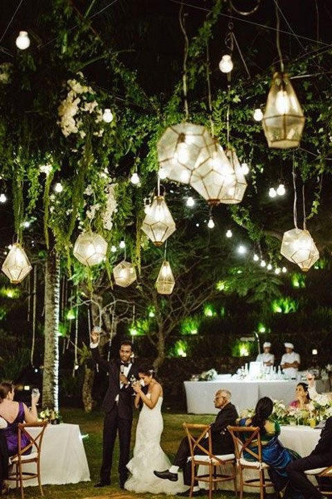 geometric-shaped lanterns for an outdoor reception