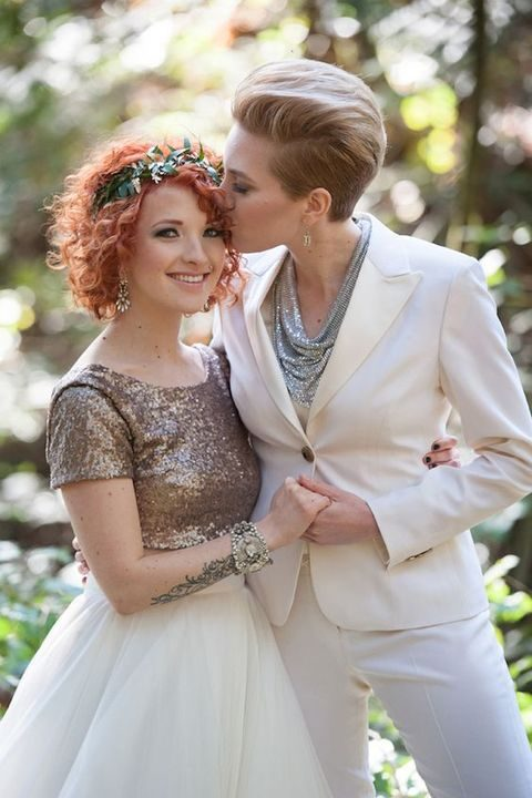 glam bridal looks - a sequin top and a tulle skirt and an ivory suit with a silver sequin top
