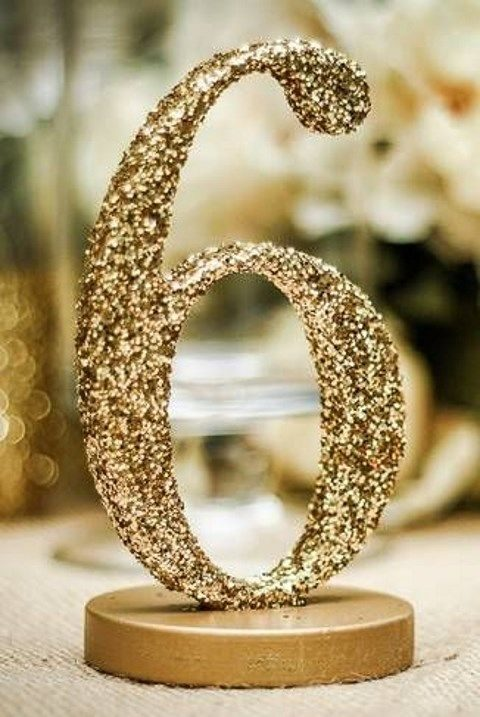 gold sequin table number