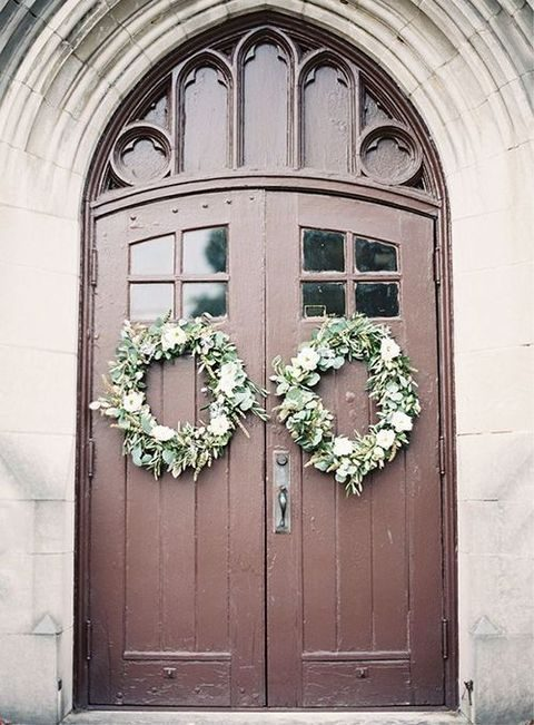 hang wreaths to your ceremony venue's doors for a festive look