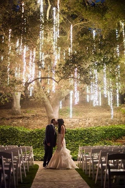 hanging fairy lights for a garden wedding