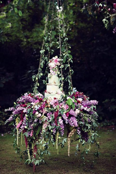 hanging lush floral cake display
