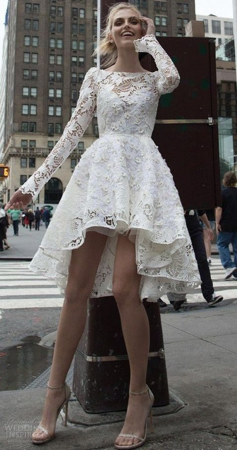 high low lace wedding gown with long sleeves