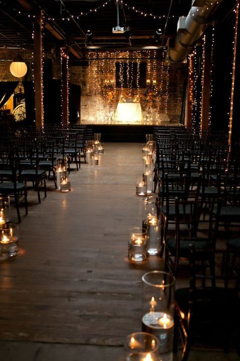 industrial ceremony space at night