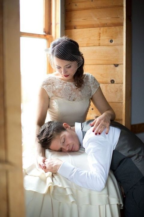 ivory illusion neckline wedding dress and a shirt with a vest and pants