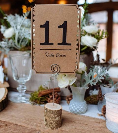log and cardboard table number