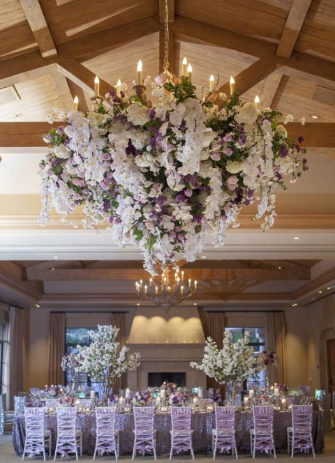 lush cream and purple wedding chandelier