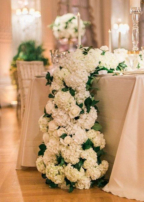 lush floral table runner of white hydrangeas