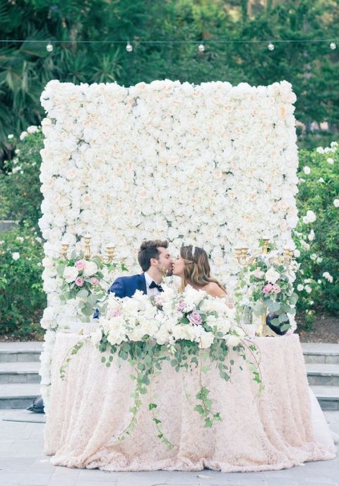 lush floral wall backdrop and sweetheart table decor