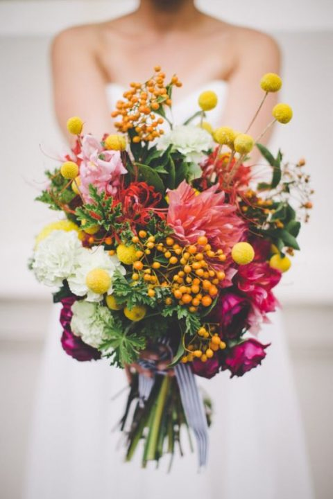 lush textural bouquet with billy balls