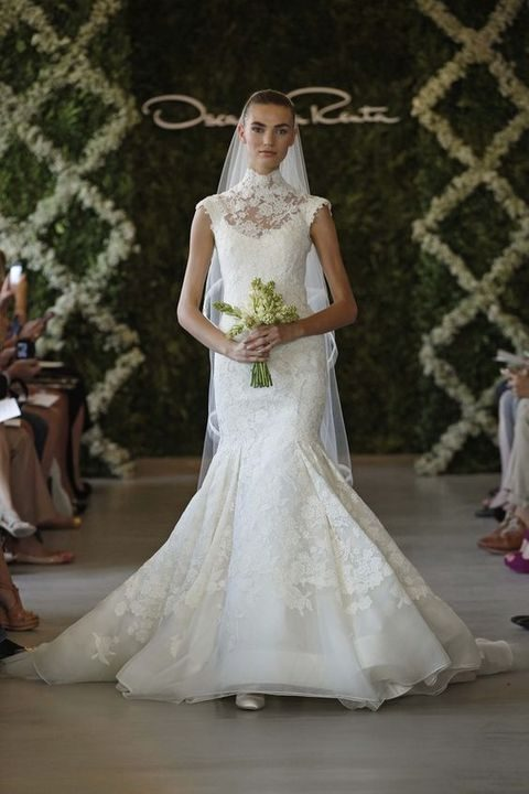 mermaid lace wedding dress with an illusion neckline