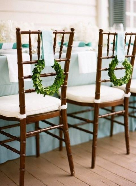 mini boxwood wreaths for chair decor