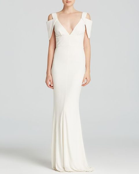 minimalist gown with a deep V neckline