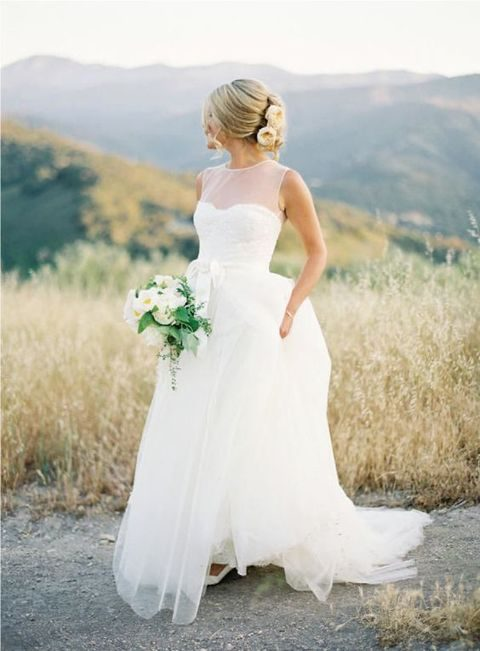 modern dress with a sweetheart bateau illusion neckline