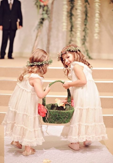 moss flower girl basket with flowers