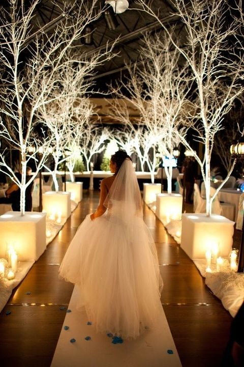 pillar candles along the aisle and lit up tree bases