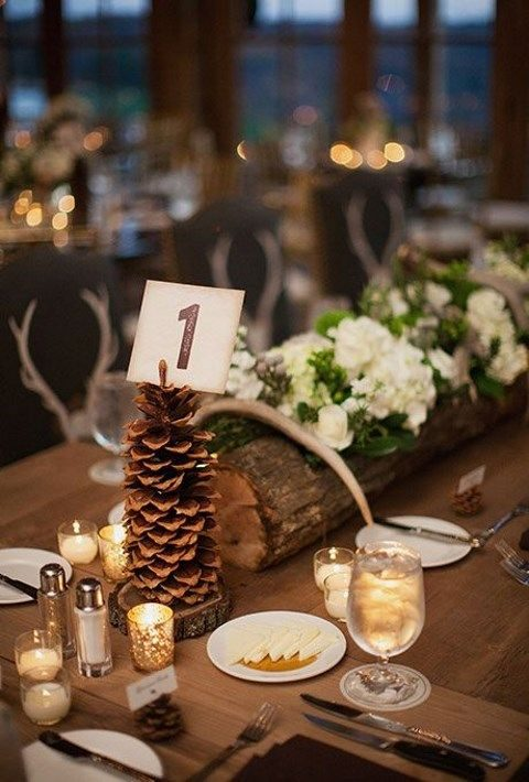 pinecone stand for table numbers