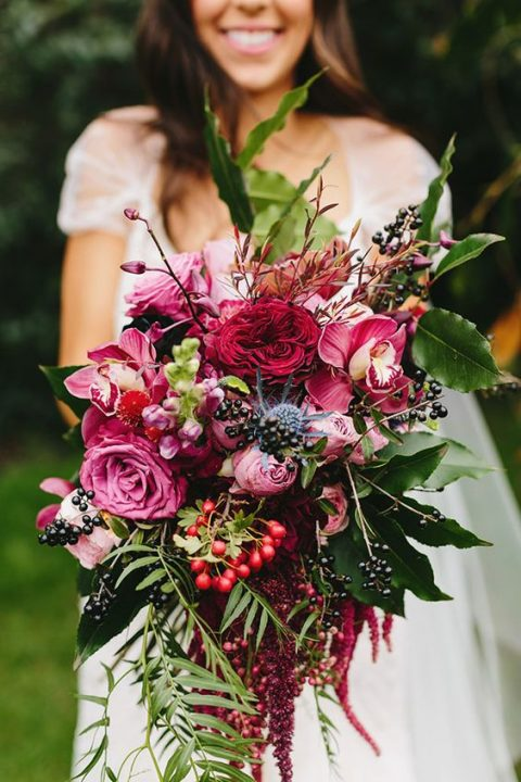 pink and fuchsia bouquet with bold berries