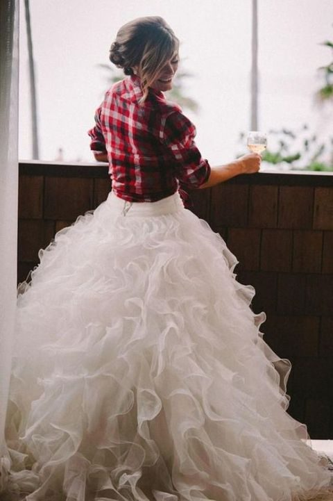 plaid flannel shirt for a bride