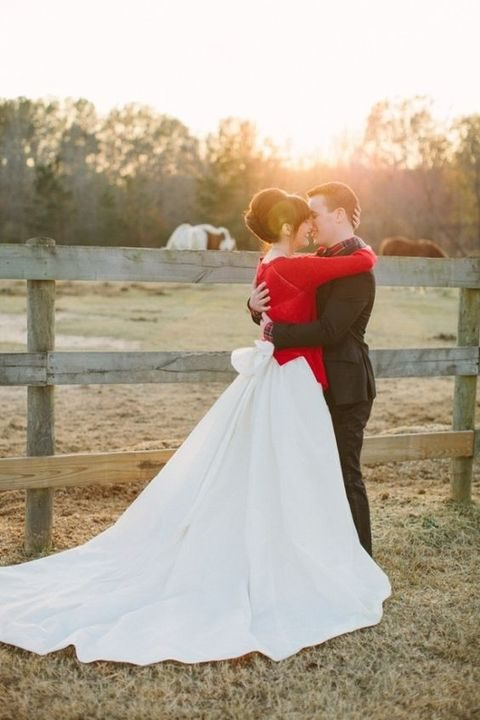 red cardigan for a Christmas bride