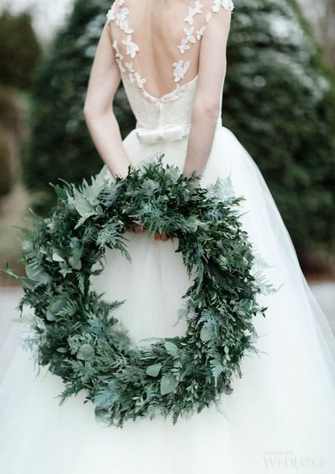 refined evergreen wreath for a wedding
