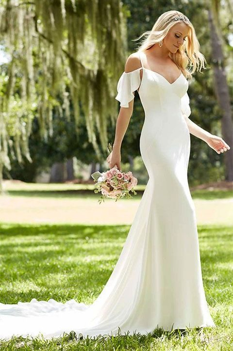 Cold Shoulder Mermaid Wedding Dress With Ruffle Sleeves