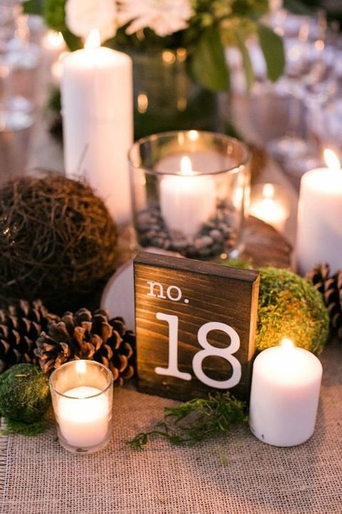 rustic table numbers on wooden pieces