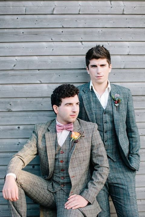 same tweed suits but of different colors