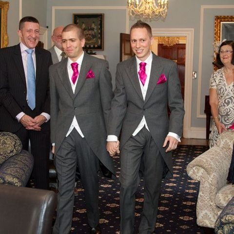same vintage grey suits with bold ties