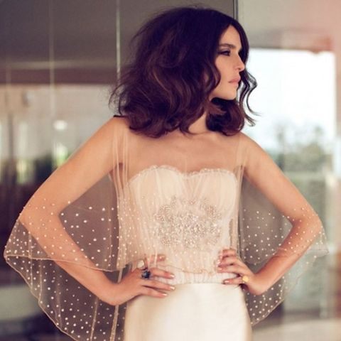 sheer bridal cape to look stunning