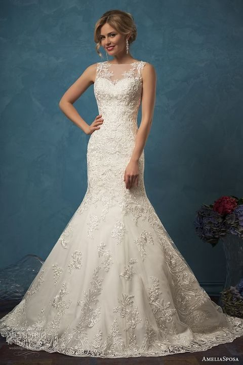sheer ivory bateau neckline gown with lace appliques and a mermaid silhouette