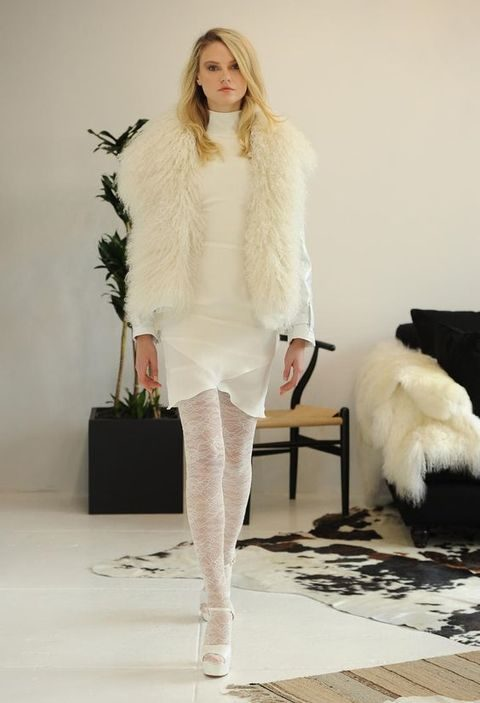 short ivory wedding dress with turtleneck, long-sleeves and ivory fur shawl