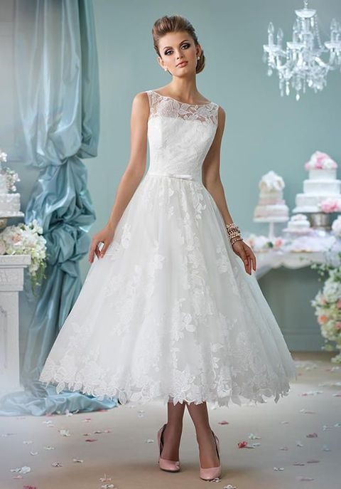 sleeveless tea-length lace over tulle A-line dress with lace illusion bateau neckline