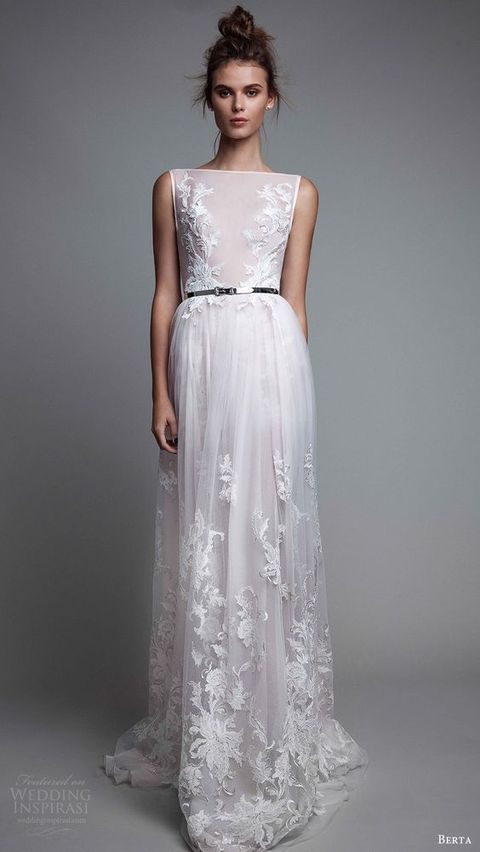 sleeveless weddig dress with lace appliques and a thin belt by Berta Bridals