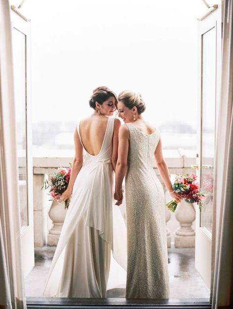 statement back wedding dress and a silver sequin wedding gown
