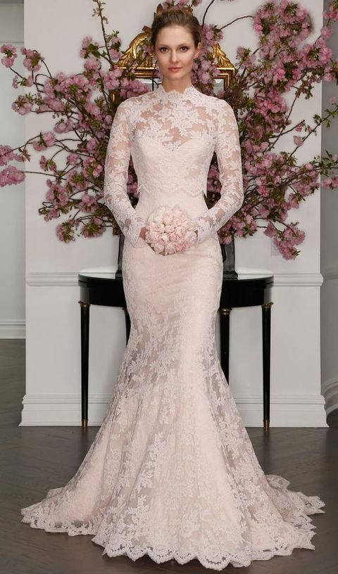 strapless lace wedding gown with a turtleneck cover