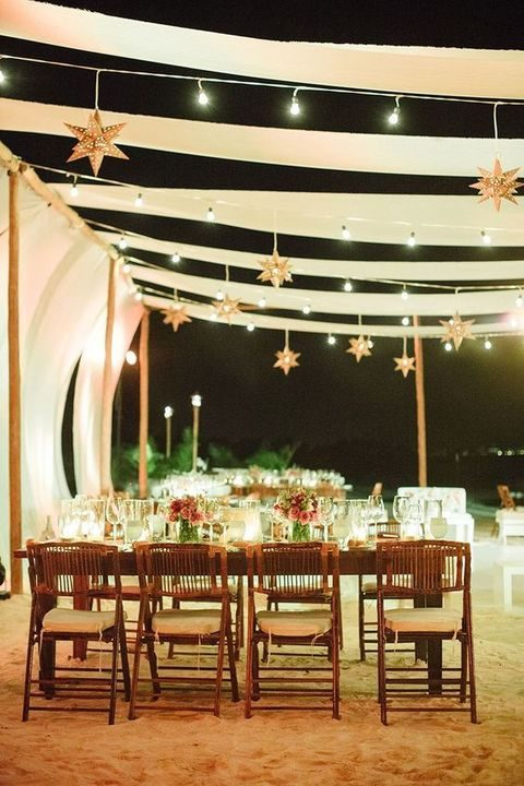 stunning Moravian stars wedding decor