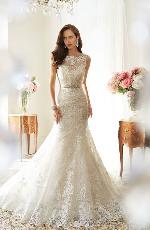 sweetheart bateau neckline lace dress with a mermaid silhouette by Sophia Tolli
