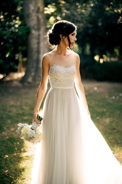 sweetheart illusion bateau neckline dress with a tulle skirt